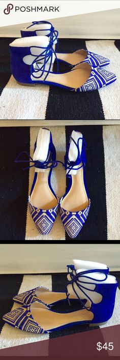 Jessica Simpson Zeena lace up flat Cobalt Blue- 6 Jessica Simpson Zeena lace up flat Cobalt Blue- Size 6 Brand New! Never worn. Jessica Simpson Shoes Flats & Loafers