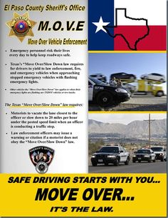 "El Paso County Sheriff's Office is launching ""Operation M.O.V.E, (Move Over Vehicle Enforcement),"" an initiative to raise awareness to the citizens of the El Paso county that drivers must yield to law enforcement, fire, and emergency vehicles."