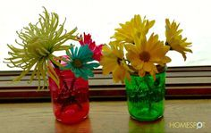 How to tint mason jars different colors