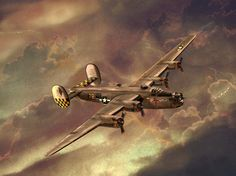 Painting of B-24 Consolidated Liberator bomber.