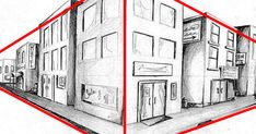 2 Point Perspective Drawing, Perspective Art, Two Point Perspective City, Drawing Scenery, City Drawing, Object Drawing, Scenery Background, Background Drawing, Modern Portrait Artists