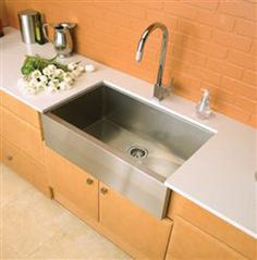 """Are apron-front sinks too """"old-fashioned"""" for your kitchen? How about a stainless steel version from Blanco?"""