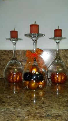DIY Halloween Decor: using dollar store glasses and sale items from craft store.