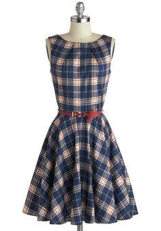 Luck Be a Lady Dress in Scholar - Blue, Red, Plaid, Belted, Party, Fit & Flare, Sleeveless, Exposed zipper, Variation