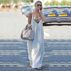 ÉTÉ Femmes Boho Robes Sans Manches Parti Cocktail Longue Plage Maxi Blanc Robe | eBay