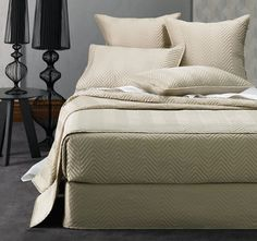 Designed as a foundation layer to coordinate with your other bed linen, the quilted Sienna range is available in a variety of components. Coverlet Bedding, Linen Bedding, Comforters, Home Bedroom, Master Bedroom, Bed Linen Design, Bed Runner, House, Furniture