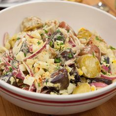 Try our collection of the best potato and pasta salad recipes, including classic macaroni salad, creamy potato salad and more from Cooking Channel. Creamy Potato Salad, Potato Pasta, Grilling Recipes, Cooking Recipes, Healthy Recipes, Chefs, Picnic Side Dishes, Salsa Fresca, Classic Macaroni Salad