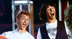 Keanu Reeves as Ted and Alex Winter as Bill ( from Bill & Ted's Bogus Journey, 1991 ) 80s Movies, Great Movies, Awesome Movies, Ted Film, Keanu Reeves Movies, Alex Winter, Interactive Sites, Fun Classroom Activities, Face The Music