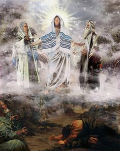 The Transfiguration of Christ by Howard David Johnson ~ Jesus Bible Pictures, Jesus Pictures, Pictures To Paint, Catholic Art, Religious Art, Transfiguration Of Jesus, Image Jesus, Jesus Christus, Jesus Art