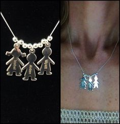 """Mother's Charm"" Sterling Silver Boy/Girl Charm Necklace