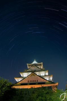 大阪城 Osaka Castle startrail, Japan
