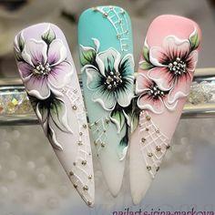 Elegant Nail Art, Pretty Nail Art, Nail Art Designs Videos, Nail Art Videos, Nail Art Fleur, Silk Nails, Nail Art Wheel, 3d Flower Nails, Nail Art Techniques