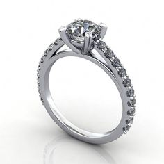 The Aurora engagement ring is a classic and timeless solitaire, enhanced by a glittering band of lab-grown diamonds in a cathedral setting. The center stone is supported by four double prongs for a decorative flair. Engagement Ring Settings Only, Engagement Solitaire, Wedding Rings Solitaire, Princess Cut Engagement Rings, Diamond Solitaire Rings, Bridal Rings, Aurora, Moissanite, White Gold