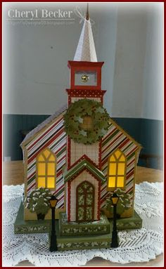 """Silent night, holy night, all is calm, all is bright."" Beautifully done, Cheryl's Church is lit up with tea lights shining through the windows! Cheryl added lots of elements making her church a one of a kind art piece! Check out her site for more pics! File is in SILENT NIGHT SVG KIT."