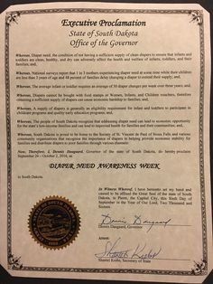 SOUTH DAKOTA - Governor Dennis Daugaard's proclamation recognizing Diaper Need Awareness Week (Sep. 21- Oct 2, 2016) Diaperneed.org #diaperneed
