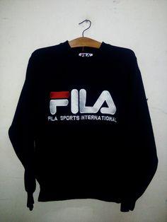 SALE Rare ! Vintage 90's Fila Sport Big Logo Spell Out Crewneck Sweatshirt Streetwear Casual Swag Hip Hop Basketball 100% Cotton Shirt Sz S by Psychovault on Etsy