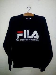 SALE Rare ! Vintage 90's Fila Sport Big Logo Spell Out Crewneck Sweatshirt Streetwear Casual Swag Hip Hop Basketball 100% Cotton Shirt Sz S by Psychovault on Etsy