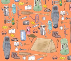 Camping in orange fabric by newspaper_balloon on Spoonflower - custom fabric