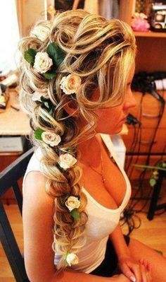10 Pretty Braided Wedding Hairstyles: #2. Floral French Braid Hair Style with Long Hair
