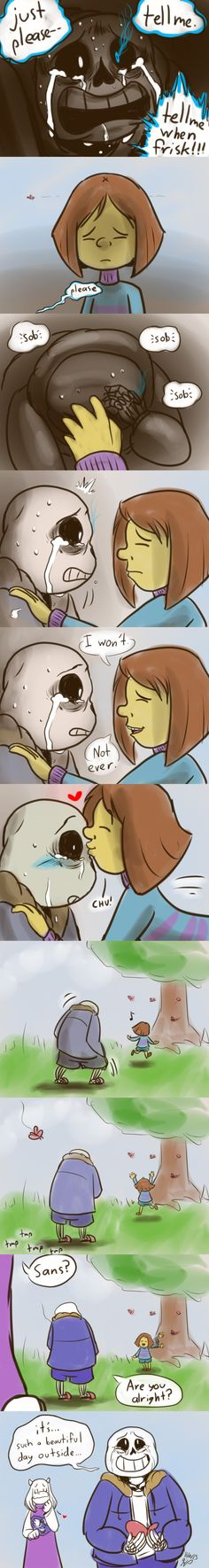 Reset - Sans and Frisk - comic (3/3) - http://nintendonut1.tumblr.com/post/132587878628/reset