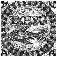 Early Christian symbol ''ichthus'' in mosaic.