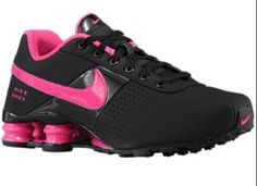 Available @ TrendTrunk.com NIKE SHOX BLACK AND HOT PINK SHOES Flats. By NIKE SHOX BLACK AND HOT PINK SHOES. Only $93.00!