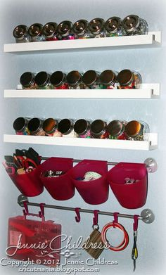 """from """"scrapbook.com"""" great site!    Other Products:IKEA Bygel Rails , IKEA Pink Bygel Containers, IKEA Rajtan Spice Jars, IKEA Ribba Picture Ledges (to store my embellishment jars),"""