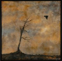 Encaustic painting of bare tree with crow photo transfer by Jeff ...