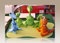 dinosaur train cake image | The cakes were prepared on a Friday night. I filled, carved and ...