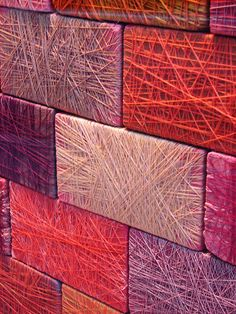 "Thread Wrapped Brick collage -  easy to recreate using layered cardboard ""bricks"" as a base - Then, frame (or not) & hang in multiples with the ""bricks"" going a different direction in each one, horizontal, vertical, slanted etc..."