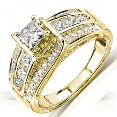 Huge 1 Carat Three Row Princess Diamond Engagement Ring in Yellow Gold