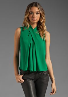 HALSTON HERITAGE Sleeveless Silk Blouse with Cross Neck Detail in Emerald