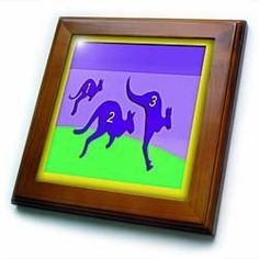 """123 Kangaroo Purple Yellow and Green - 8x8 Framed Tile by Beverly Turner Photography. $22.99. Cherry Finish. Dimensions: 8"""" H x 8"""" W x 1/2"""" D. Keyhole in the back of frame allows for easy hanging.. Solid wood frame. Inset high gloss 6"""" x 6"""" ceramic tile.. 123 Kangaroo Purple Yellow and Green Framed Tile is 8"""" x 8"""" with a 6"""" x 6"""" high gloss inset ceramic tile, surrounded by a solid wood frame with predrilled keyhole for easy wall mounting.. Save 15%!"""