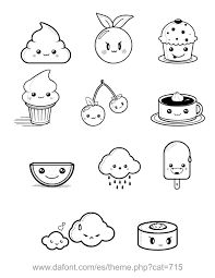 Resultado de imagen para kawaii food black and white