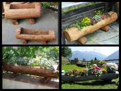 hollowed out log Yard platter Colorado Landscaping, Yard Landscaping, Backyard Projects, Garden Projects, Garden Ideas, Flower Planters, Flower Pots, Natural Wood Crafts, Log Planter