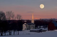 Full Winter Moon over Peacham, VT