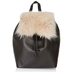 Topshop Shearling & Leather Backpack ($150) ❤ liked on Polyvore featuring bags, backpacks, nude, black bag, topshop, leather backpack, real leather backpack and black leather rucksack