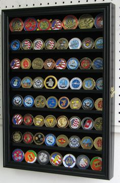 56 Challenge Coin Display Case Rack Cabinet, with door, Shadow Box - NEW Trophy Display, Award Display, Diploma Display, Trophy Shelf, Challenge Coin Display Case, Challenge Coins, Race Medal Displays, Display Medals, Display Boxes
