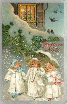 JOYEUX NOEL  three children in white coats, one carrying umbrella, evergreen & house above