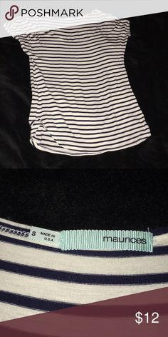 Maurices striped shirt sleeve top Only worn once! Black/navy white striped short sleeve shirt. Fun layering shirt! Very soft and comfy material. Stretchy as well! Maurices Tops Tees - Short Sleeve