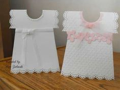 baby Dress christening cards by - Cards and Paper Crafts at Splitcoaststampers Baby Girl Cards, New Baby Cards, Baptism Cards, Christening Card, Dress Card, Hand Stamped Cards, Shaped Cards, Baby Shower Cards, Creative Cards