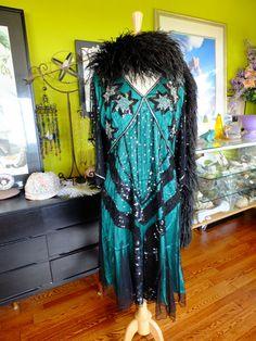 Green Black beaded flapper dress sz16 by RetroVintageWeddings verytreschic.com retrovintageweddings on etsy verytrescchicweddings.com and also on fb same shops!