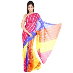 Compliment your ethnic look by wearing this Jaipuri pure chiffon saree from the house of JBK Arts. It is a renowned brand known for its quality products, presenting a wide range of women sarees. Featuring this elegant Indian attire for all your traditional & festive occassions. This beautiful saree is handcrafted from very comfortable & light weight chiffon. The speciality of this saree is its famous & traditional handprinted lehariya/tie & dye work done by the skilled cr...
