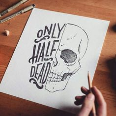 Without text half skulls are cool as fuck. Type by Art Drawings Sketches, Cool Drawings, Pencil Drawings, Gothic Drawings, Funny Sketches, Cool Sketches, Desenho Tattoo, Skull Art, Pencil Art