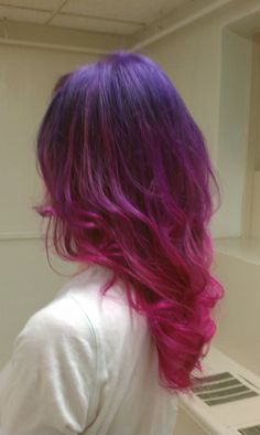 purple to pink ombre hair- I wish!  I hate being constrained by my job!