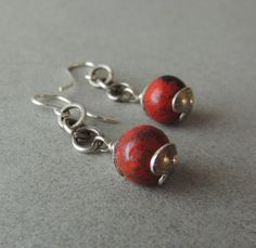 Artisan Jewelry, Sterling Silver Earrings, Rare Cuprite Stones, Red Earrings, Handcrafted Silver Beadcaps, Urban Chic, Casual Jewelry by DianesAddiction on Etsy