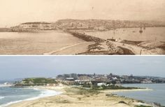 Comparison of Newcastle from Nobbys island. Top photo taken in 1893 by Fred Hardy (copyright State Library of NSW), the bottom photo taken in 2012by Marc Walters