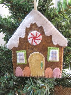 Gingerbread House Ornament Embroidered Felt by ThePathLessRaveled