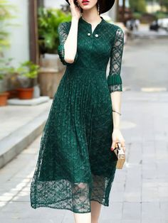 Shop V Neck Sheer Pleated Lace Dress online. SheIn offers V Neck Sheer Pleated Lace Dress & more to fit your fashionable needs. Lace Midi Dress, Dress Up, Dress Outfits, Fashion Dresses, Women's Dresses, Casual Dresses For Women, Clothes For Women, Lauren, Elegant Outfit