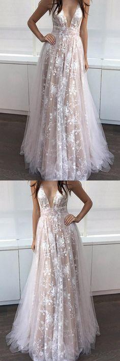 A-Line Deep V-Neck Floor-length Sleeveless Tulle Prom Dress Evening Dress PG403 #promdresses #eveningdresses #dresses #alinedress #cheapdress #pgmdress